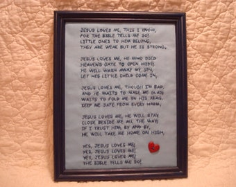 Inspirational Primitive Stitchery Yes Jesus Loves Me Song In Blue Frame