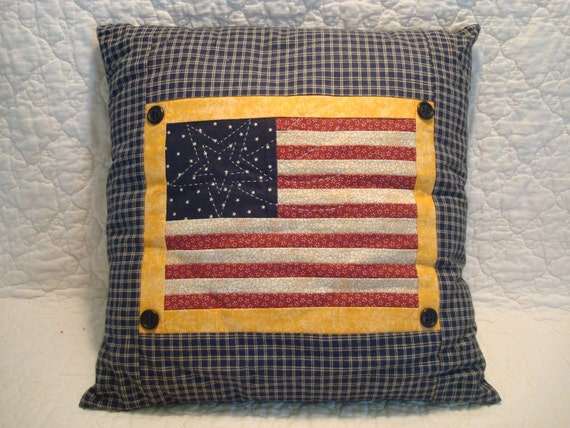 Country Patriotic Flag Throw Pillow Stars and Stripes American