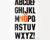 "Letterpress poster ""No for beginners"" - alphabet - ABC - original prints in black and orange on Linoldruckpapier white - 50 x 31 cm"
