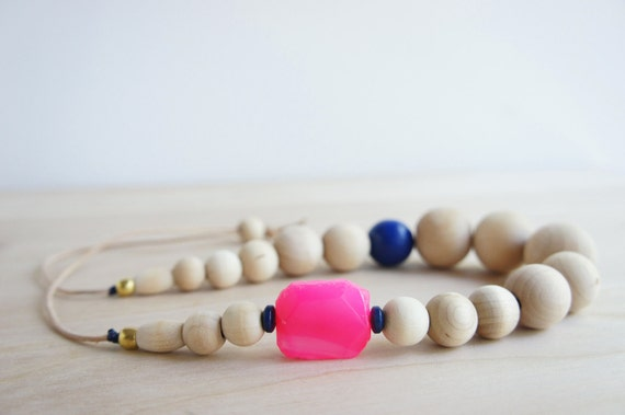 Midnight Necklace - Cobalt Blue & Hot Pink