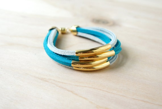 Cicely Bracelet - White/Turquoise/Gold/Leather Suede/Simple/Magnetic Clasp