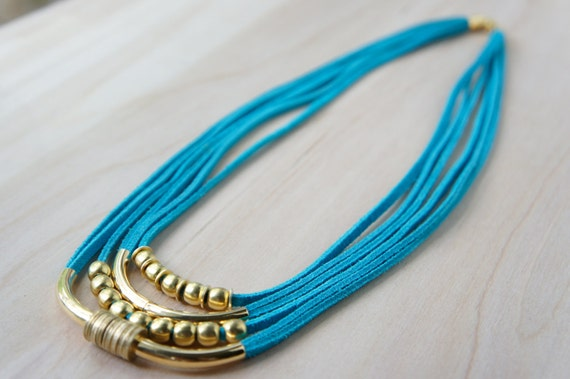 Echo Necklace - Turquoise/Gold/Leather Suede/Brass/Magnetic Clasp