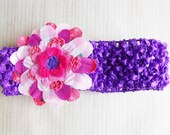 Upcycled Flower in Shades of Pink on Purple Crochet Baby Headband