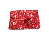 Vintage Inspired Clutch Bag 1930's Clutch Red White Roses Floral Purse Bag Detachable Cabbage Rose Brooch 1930s Style