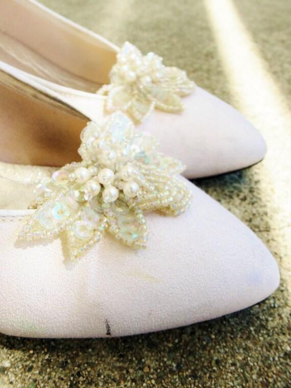 ON SALE Vintage Wedding Shoes - Size US 7 1/2