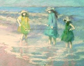 Giclee beach print of three girls at the seashore 8 x 10, children in surf, blue, green, yellow, figures, shore, ocean, wading in surf