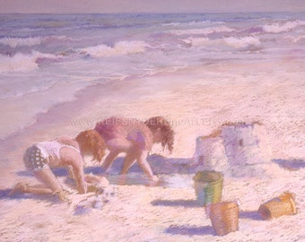 Beach print two children, playing in sand, sandcastle, ocean, shore, seashore, blue, yellow, pink, lavender, buckets, kids at the beach