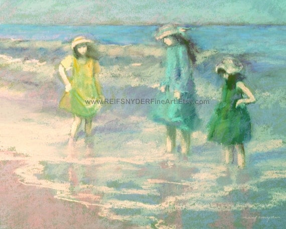 Three girls, Beach print, seashore, children, blue, green, yellow, figures, shore, ocean, wading in surf, sisters, friends, dresses and hats