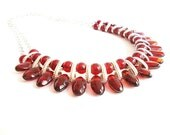 Plastic bead necklace, Elegant Sophisticated Necklace, Ethnic Necklace, Burgundy Bib Necklace,