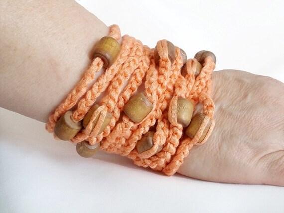 Crochet bracelet, Cadmium orange, wooden beads, Handmade Crochet bracelet, Crochet jewellery, Very stylish wristband, wrist strap