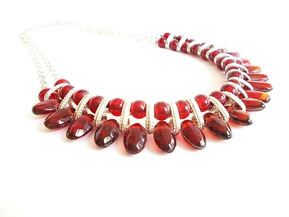 Plastic bead necklace, Elegant Sophisticated Necklace, Ethnic Necklace, Burgundy Bib Necklace,