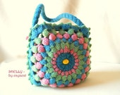 Final sale! Felted purse SHELLY, small crocheted wet felted handbag ooak colourful hippie bag with yellow wooden beads granny square bag