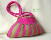 Knitted wet felted striped shoulder bag PISTACHIO, ooak,  felted purse, hot pink, olive green with wooden beads, felted tote