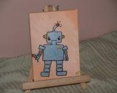 "MR. ROBOT ""sad robot with flower"". Cartoon-style, small canvas, 5""x7""."