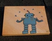 "MR. ROBOT ""juggling loose screws"". Cartoon-style, small canvas, 8""x10""."