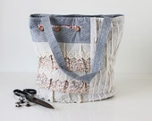 Denim Blue Linen Tote Bag with Lace and Floral Fabric Patchwork Details, Cute Japanese Asian Zakka Style Bag - Honeysuckle
