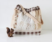 Cream and Brown Checkered Linen Tote Bag with Vintage Romantic Lace Details and Floral Frills, Patchwork Japanese Asian Zakka Style Bag