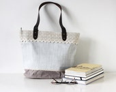 Pastel Blue Shabby Chic Linen Tote Bag with Vintage Lace and Leather Strap, Light Blue Simple Japanese Asian Zakka Style Bag - Chicory