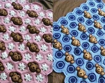 Two Crochet Baby Blanket PDF PATTERNS Download - Baby Girl AND Baby Boy Feel and Learn Monkey Blankets, Stroller Blankies, Crochet Patterns