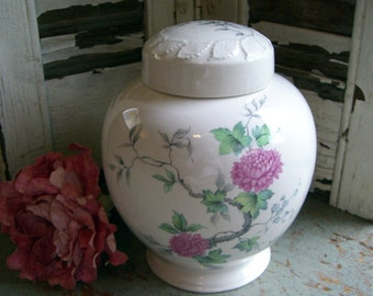Vintage Canister, Container with Lid, Vase, Floral, Pink, White, Asian, Urn