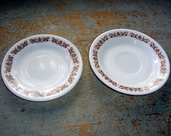 Vintage Plates, Pyrex, Set of Two, Saucers, White, Brown, Tea Cup Saucer, Bread Plate, Cake Plate, Small