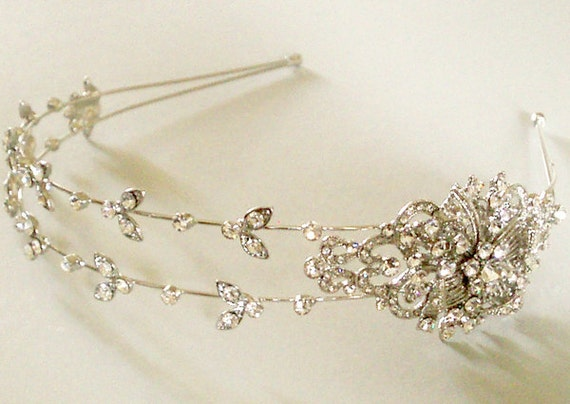 Two row crystal  headband - Bridal Headpiece- Ready to ship