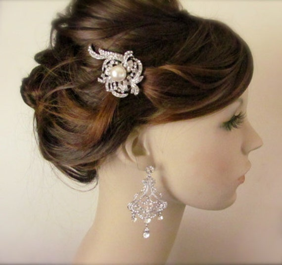 Art Deco Bridal Hair Comb - Vintage inspired bridal hair comb - crystal with pearl hair clip