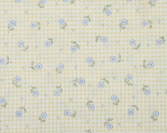 Mary Engelbreit OOp fabric- Light blue flowers on yellow gingham print