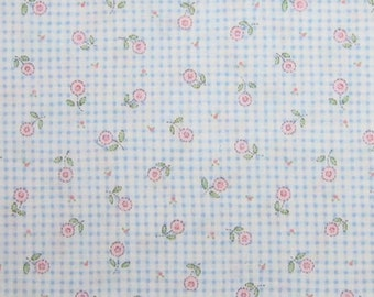 Mary Engelbreit OOP fabric- Pink flowers on light blue gingham print