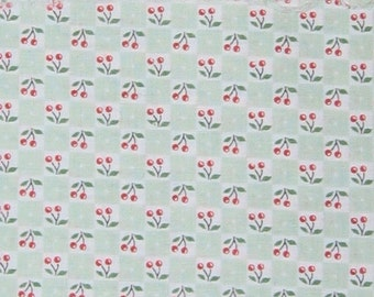 Mary Engelbreit OOP fabric- red cherries on light green and white checks