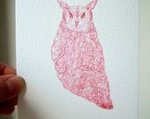 Patterned Red Owl Postcard