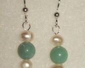 Freshwater Pearl and Amazonite Dangle Earrings
