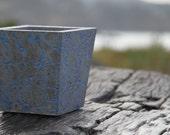 Concrete Crackle Pot Concrete Planter - Grey and Blue