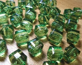 Acrylic Beads - 17x15mm Faceted Cube - Green (6 beads)