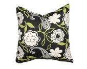 Throw Pillow Cover - Set of Two 20x20 pillow covers - Black, White and Green Floral Pattern - Home Decor