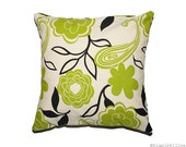 Throw Pillow Cover:  Set of two 16x16 pillow covers with black, beige and green floral pattern