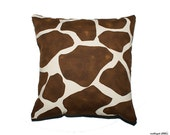 Brown Giraffe Pattern 20x20 Cushion Cover, slip cover, throw pillow, decorative cushion, accent pillow