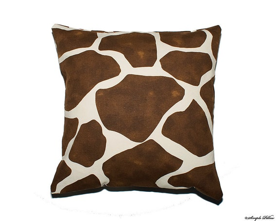16x16 Decorative Pillow Covers : Set of two brown giraffe 16x16 decorative pillow covers
