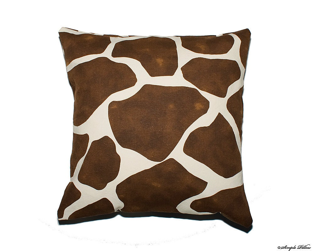 Giraffe Decorative Pillow : Set of two brown giraffe 16x16 decorative pillow covers