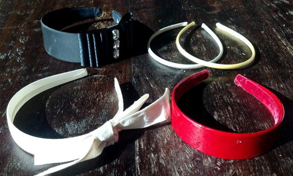 Lot Collection of Old Headbands Black Wide Rhinestone, Red Patent, Cream Bow, Silver Gold Satin