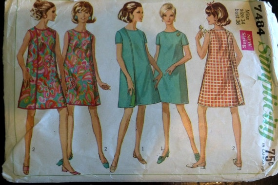 7484 Simplicity Vintage Sewing Pattern1960s Dress Trapeze Shift Cut Complete 1967 Mad Men