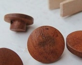 12pcs Patchwork accessories wooden buttons / primary color bamboo buckle button mushrooms in a unique circular No.-mnk019