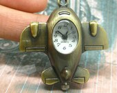 pocket watch cartoon copper metal pendant necklace very cute chb03 Aircraft