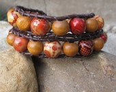 Wooden beaded 2x leather wrap