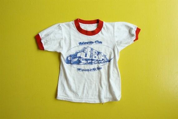 Child's Keep On Truckin White Cotton Ringer Tee Tshirt (Child's size 4-6)