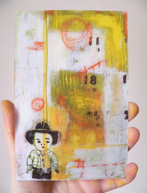 Printable Cowboy  mixed media in yellow white orange green,