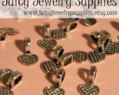 10 Small Pewter Heart Bails