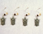 Handmade Wine Charms in Earthy Owls (Set of 4)