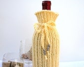 Hand Knitted Wine Bottle Gift Sleeve or Wedding Favor in Light Yellow
