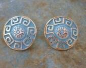 SALE Vintage Mint Green Turquoise Greek Key Primitive Tribal Earrings